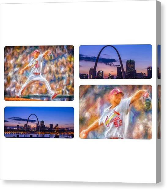 Baseball Canvas Print - #buschstadium #cardinalnation #baseball by David Haskett II