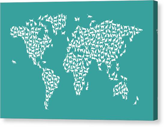 Cat map canvas prints fine art america cat map canvas print cats map of the world map by michael tompsett gumiabroncs Images