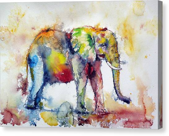 Big Colorful Elephant Canvas Print