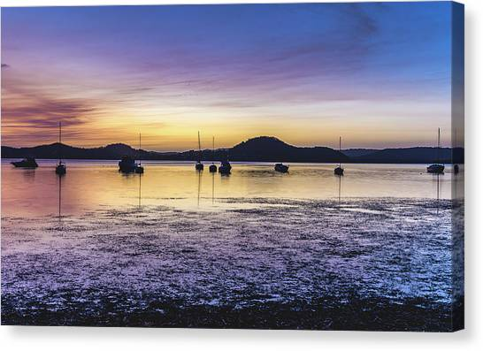 Dawn Waterscape Over The Bay With Boats Canvas Print