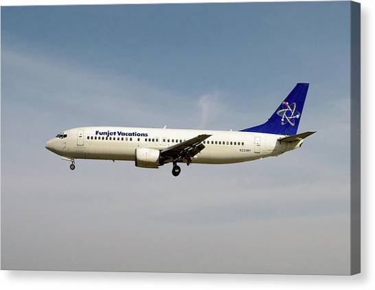 Vacations Canvas Print - Funjet Vacations Boeing 737-400 by Smart Aviation