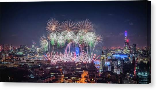 Happy New Year London Canvas Print