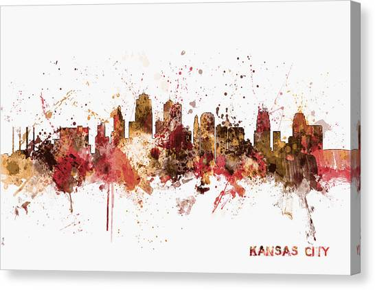 Missouri Canvas Print - Kansas City Skyline by Michael Tompsett