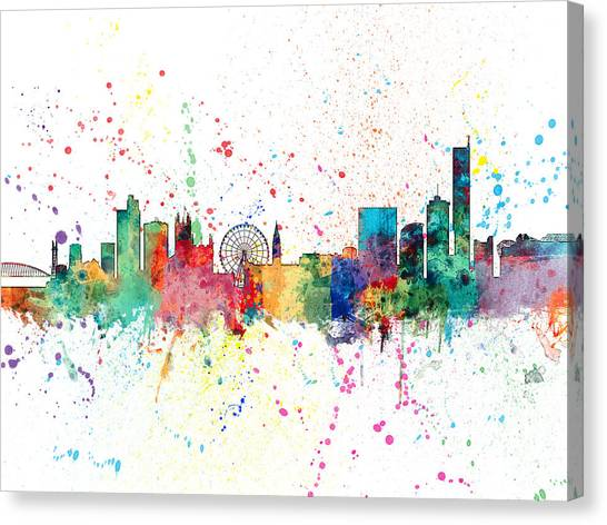 Manchester United Canvas Print - Manchester England Skyline by Michael Tompsett
