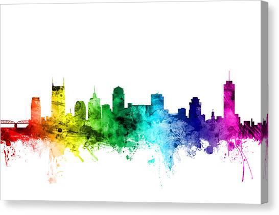 Nashville Canvas Print - Nashville Tennessee Skyline by Michael Tompsett