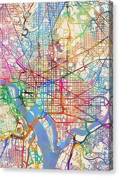 District Of Columbia Canvas Print - Washington Dc Street Map by Michael Tompsett