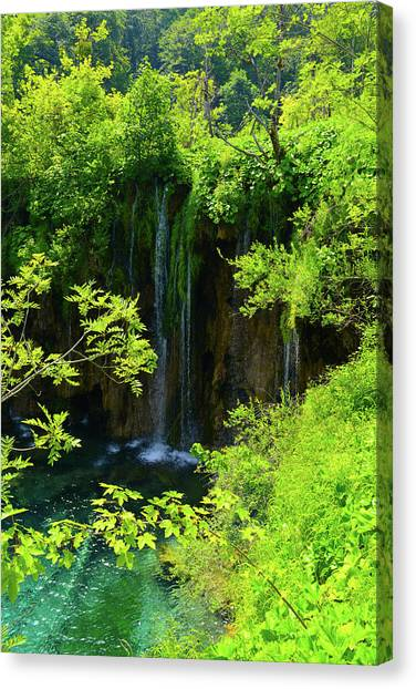 Waterfall In Plitvice National Park In Croatia Canvas Print