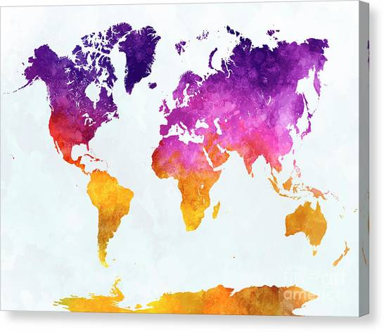 World map paint splashes canvas prints page 2 of 3 fine art america world map paint splashes canvas print world map in watercolor by pablo romero gumiabroncs Choice Image