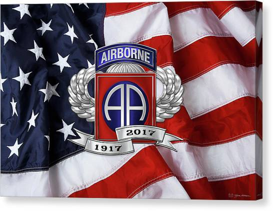 82nd Airborne Division 100th Anniversary Insignia Over American Flag  Canvas Print