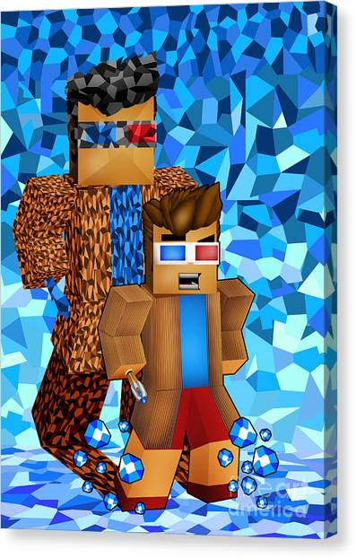 Gameboy Canvas Print - 8bit Boy With Time Traveller Shadow by Three Second