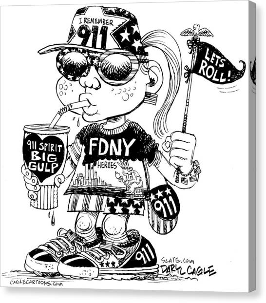 Canvas Print featuring the drawing 9/11 Commercialization by Daryl Cagle