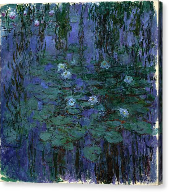 Lyrical Abstraction Canvas Print - Blue Water Lilies by Claude Monet