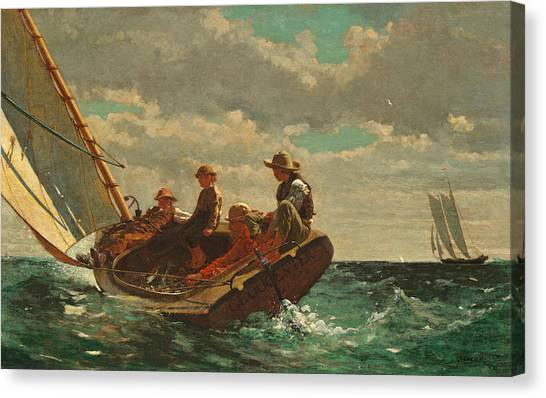 Winslow Canvas Print - Breezing Up by Winslow Homer