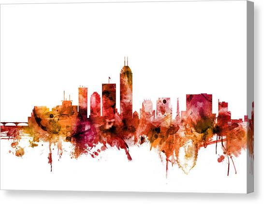 Indiana Canvas Print - Indianapolis Indiana Skyline by Michael Tompsett