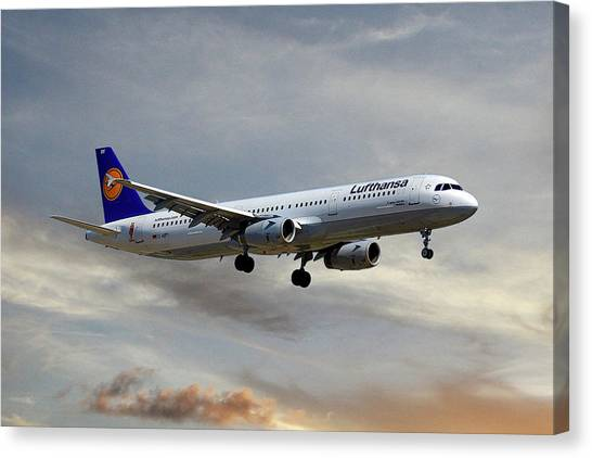 Jet Canvas Print - Lufthansa Airbus A321-131 by Smart Aviation