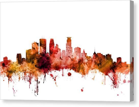Minnesota Canvas Print - Minneapolis Minnesota Skyline by Michael Tompsett
