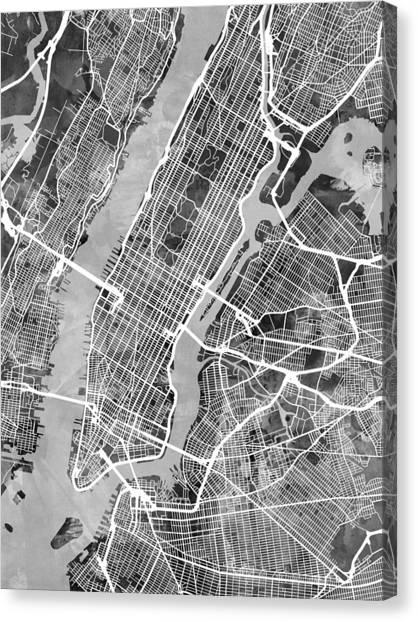 New York City Street Map Digital Art by Michael Tompsett