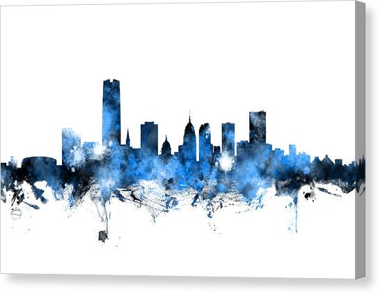 Oklahoma Canvas Print - Oklahoma City Skyline by Michael Tompsett