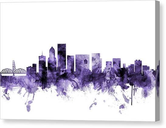 Portland Canvas Print - Portland Oregon Skyline by Michael Tompsett