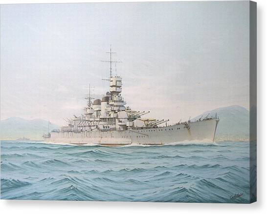 Battleship Canvas Print - Ship by Maye Loeser
