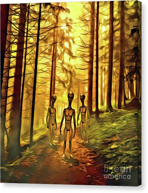 Monster Ufo Canvas Print - The Aliens Are Here by Raphael Terra