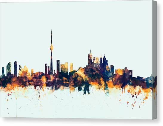 Toronto Skyline Canvas Print - Toronto Canada Skyline by Michael Tompsett