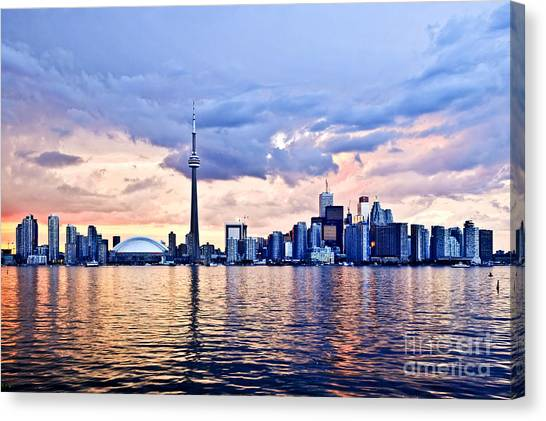 Lake Sunsets Canvas Print - Toronto Skyline by Elena Elisseeva