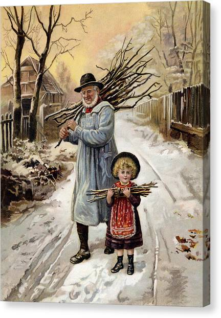 Grandpa Canvas Print - Vintage Christmas Card by English School