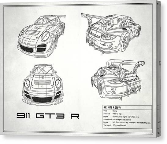 Car blueprint canvas prints page 3 of 25 fine art america car blueprint canvas print 911 gt3 r blueprint white by mark rogan malvernweather Gallery