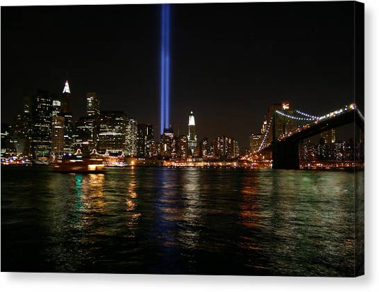 911 Memorial Lighting Canvas Print by Dennis Curry