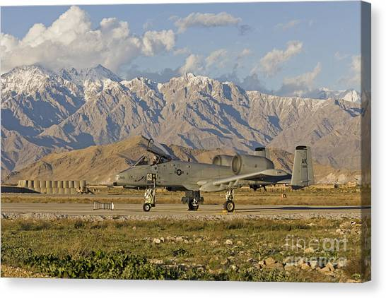 Hindu Kush Canvas Print - A-10 Warthog At Bagram by Tim Grams
