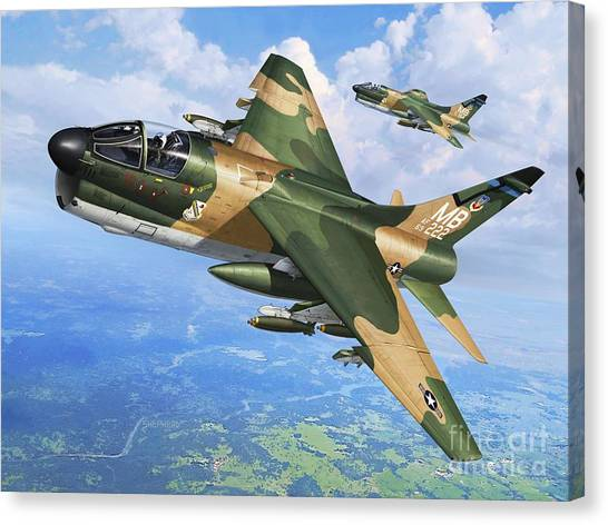 Vietnam War Canvas Print - A-7d Corsair II by Stu Shepherd