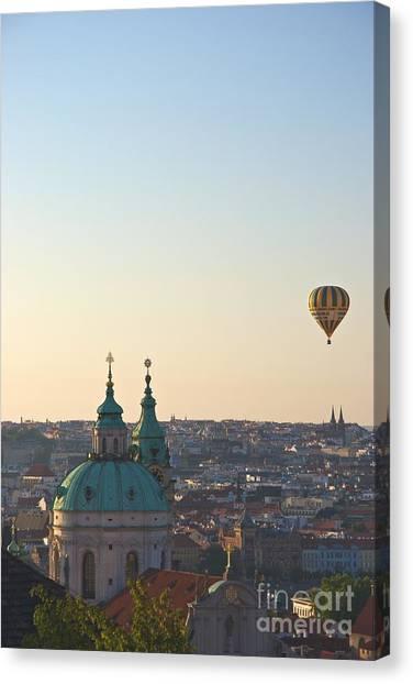 A Balloon Over Prague Canvas Print by Hideaki Sakurai