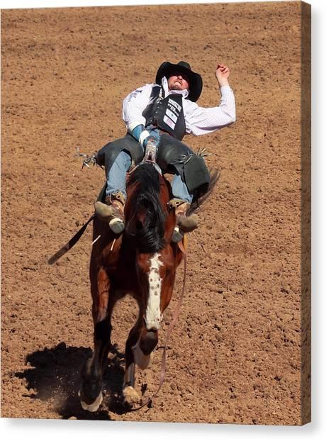 Bareback Canvas Print - A Bareback Rider Aboard A Bronco, Tucson, Arizona by Derrick Neill