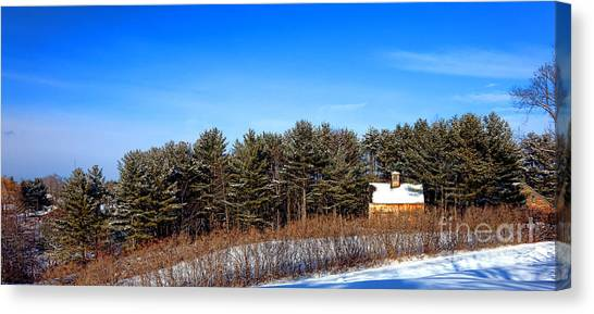 Maine Winter Canvas Print - A Barn In The Snow In Maine by Olivier Le Queinec