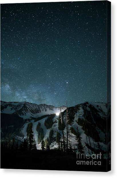 Colorado Rockies Canvas Print - A-basin At Night by Juli Scalzi