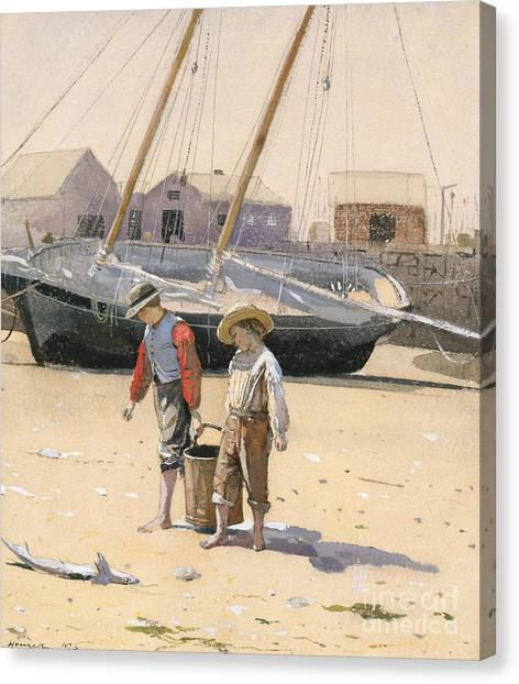 Clams Canvas Print - A Basket Of Clams, 1873 by Winslow Homer
