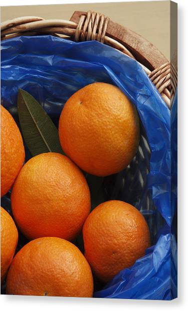 A Basket Of Oranges Canvas Print by Steve Outram