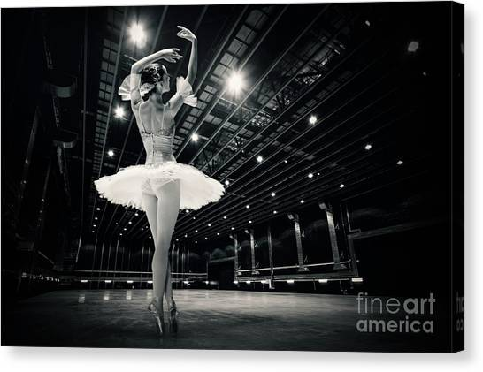 Canvas Print featuring the photograph A Beautiful Ballerina Dancing In Studio by Dimitar Hristov