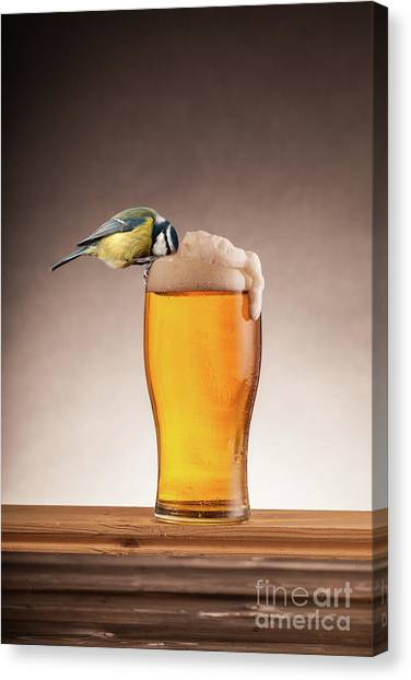 Pint Glass Canvas Print - A Beer For The Birds by Simon Bratt Photography LRPS