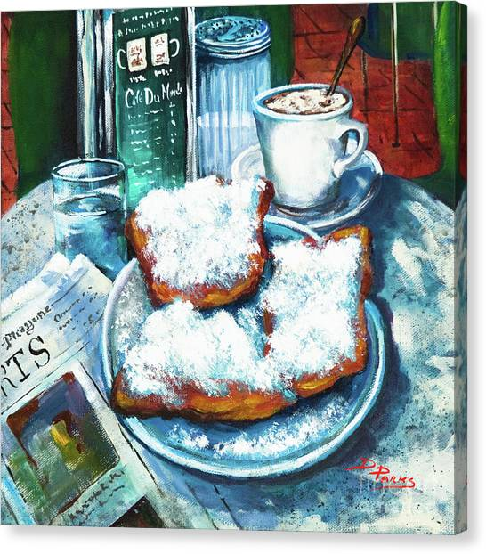 Food Canvas Print - A Beignet Morning by Dianne Parks