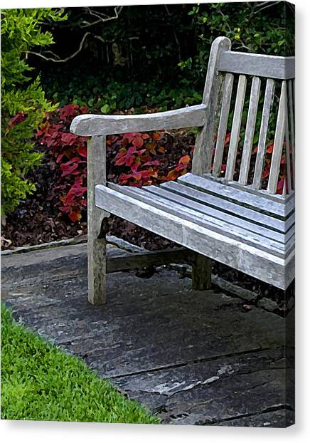 A Bench In The Garden Canvas Print