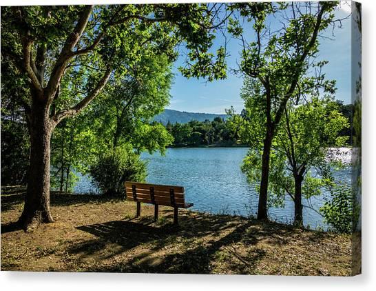A Bench Overlooking Vasona Lake Canvas Print