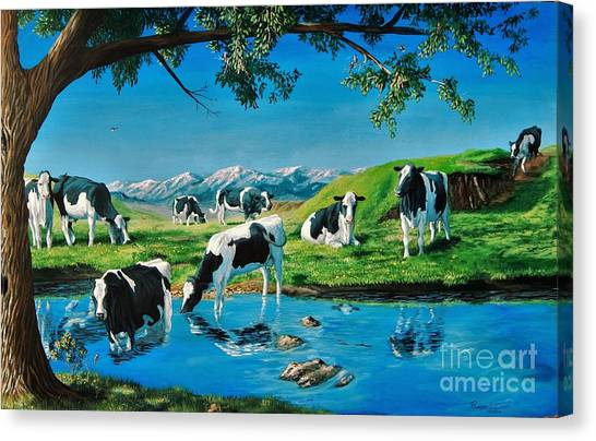 A Black And White Field Canvas Print