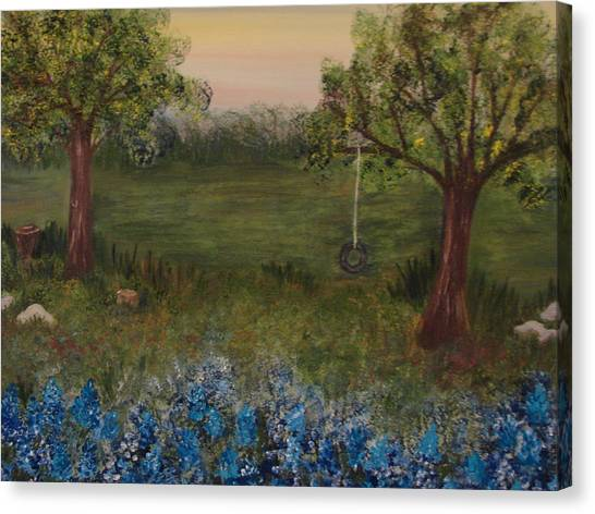 A Bluebonnet Swing Canvas Print by Shiana Canatella