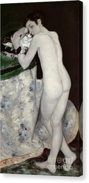Pierre-auguste Renoir Canvas Print - A Boy With A Cat by Pierre Auguste Renoir