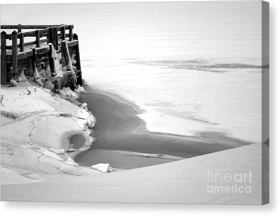 Snow Bank Canvas Print - A Break In The Kennebec by Olivier Le Queinec