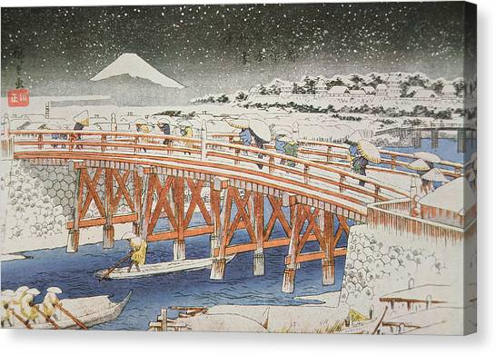 Japanese Umbrella Canvas Print - A Bridge In Yedo With Mount Fuji In The Background by Hiroshige