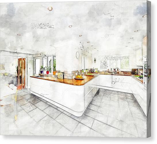 A Bright White Kitchen Canvas Print