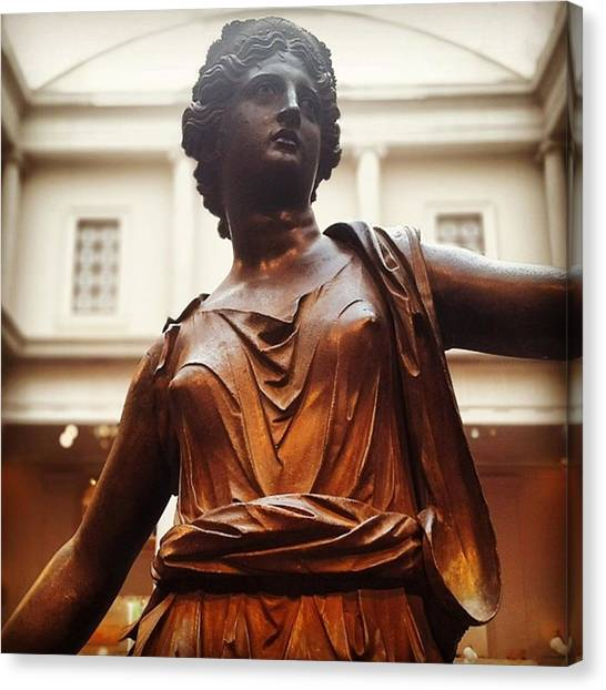 Roman Art Canvas Print - A #bronze #statue Of #artemis #roman by Matt Sweetwood